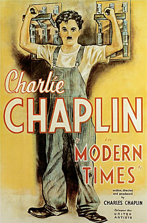 Filmaffisch för Chaplins Moderna Tider, bild på Chaplin själv